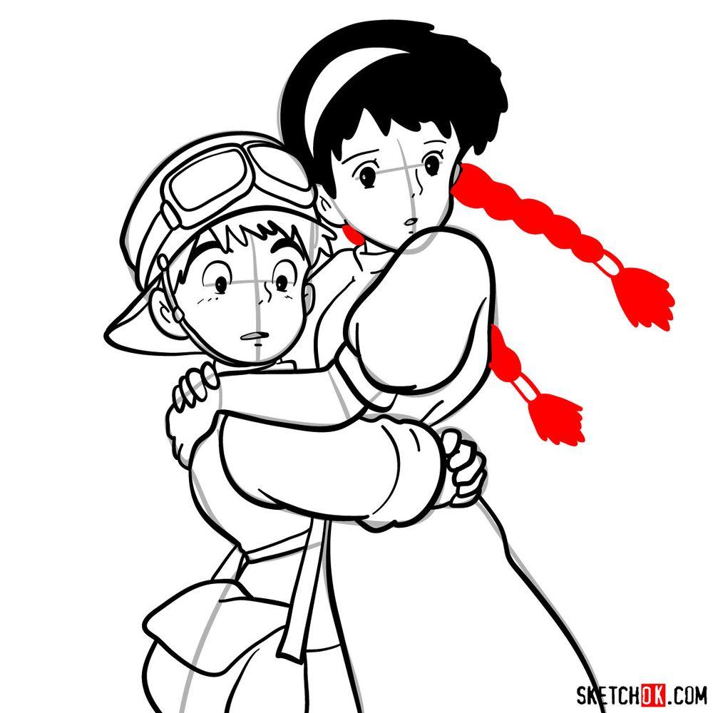 How to draw Sheeta and Pazu together - step 17