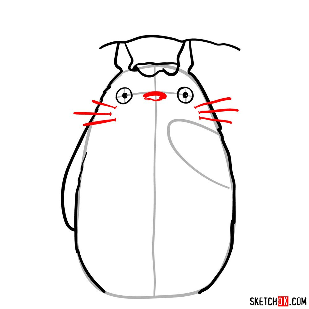 How to draw Totoro with an umbrella - step 07