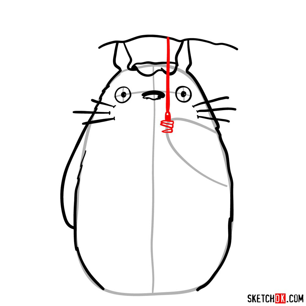 How to draw Totoro with an umbrella - step 08