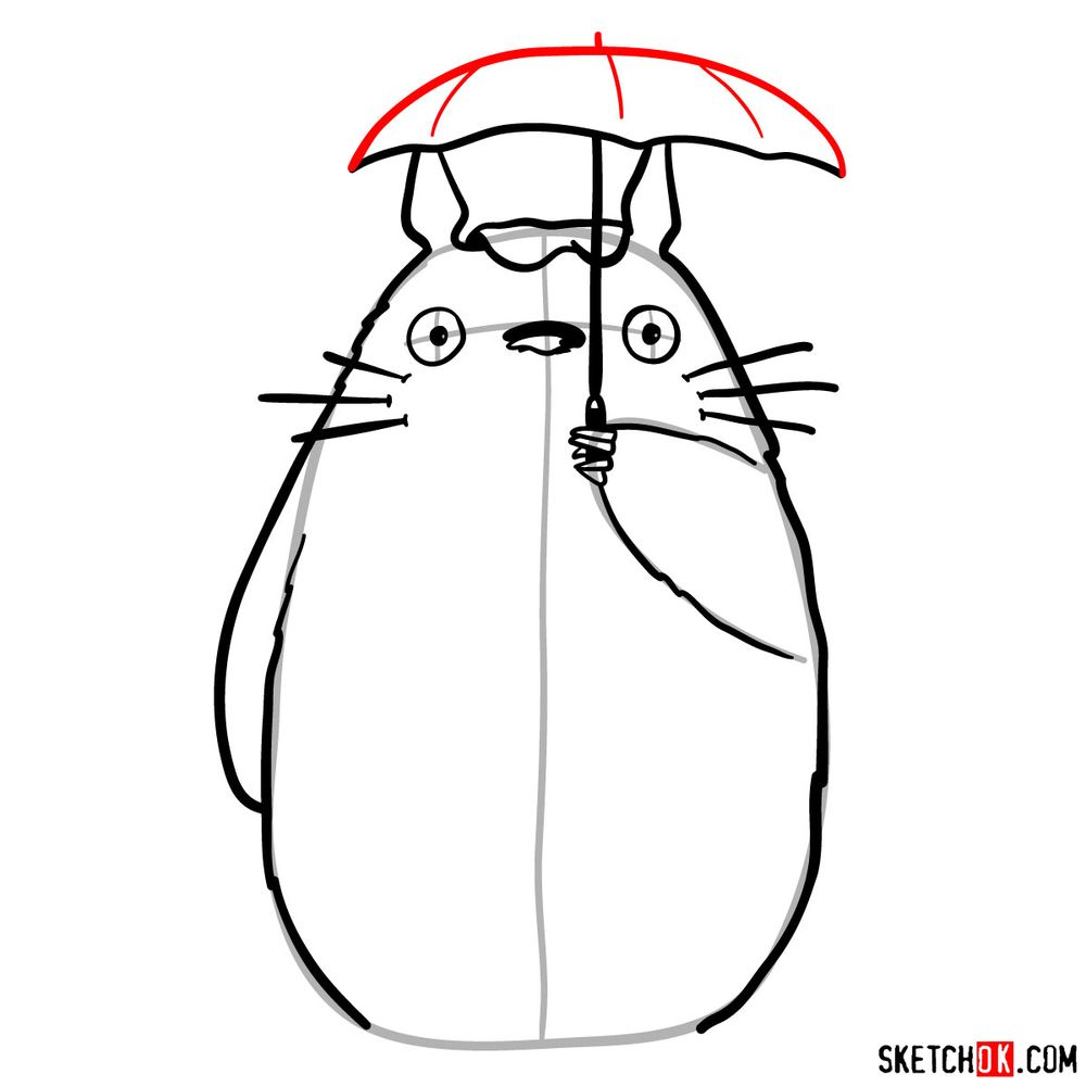 How to draw Totoro with an umbrella - step 10