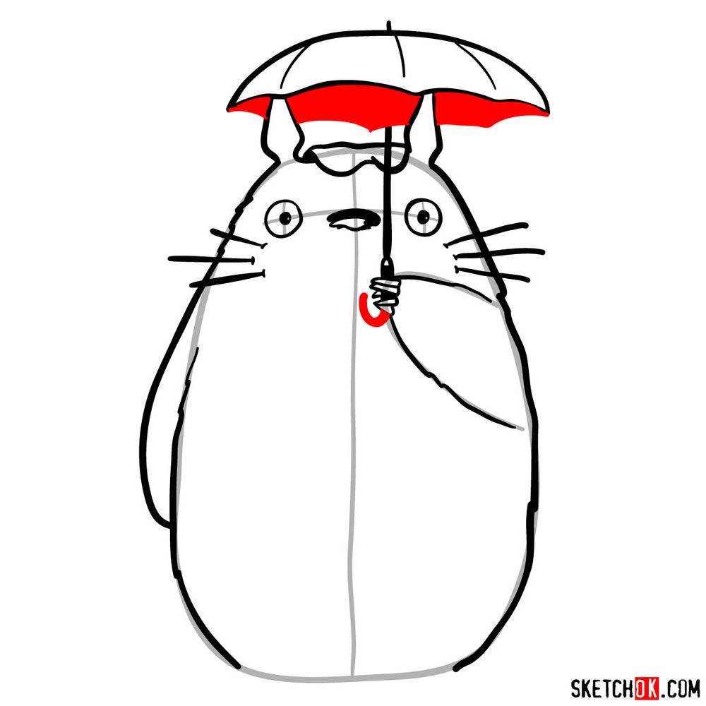 How to draw Totoro with an umbrella - step 11