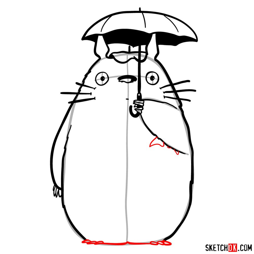 How to draw Totoro with an umbrella - step 13