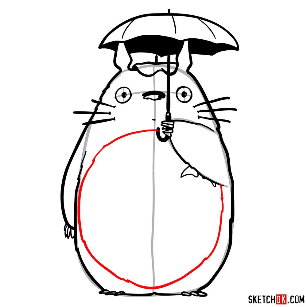 How to draw Totoro with an umbrella - step 14