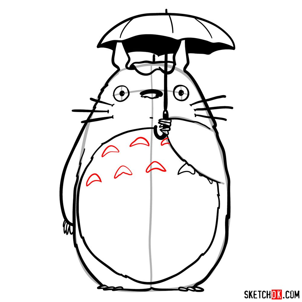 How to draw Totoro with an umbrella - step 15