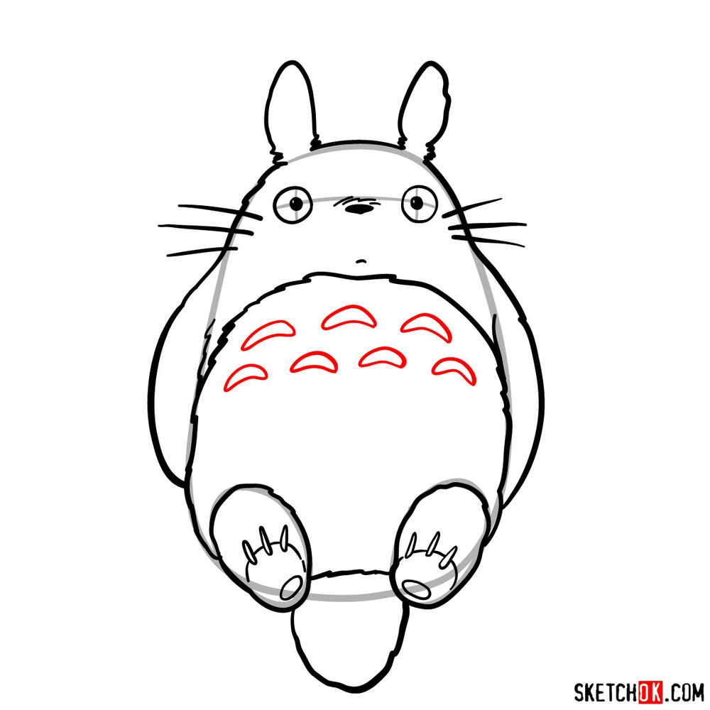 How to draw both chibi and big Totoro - step 10