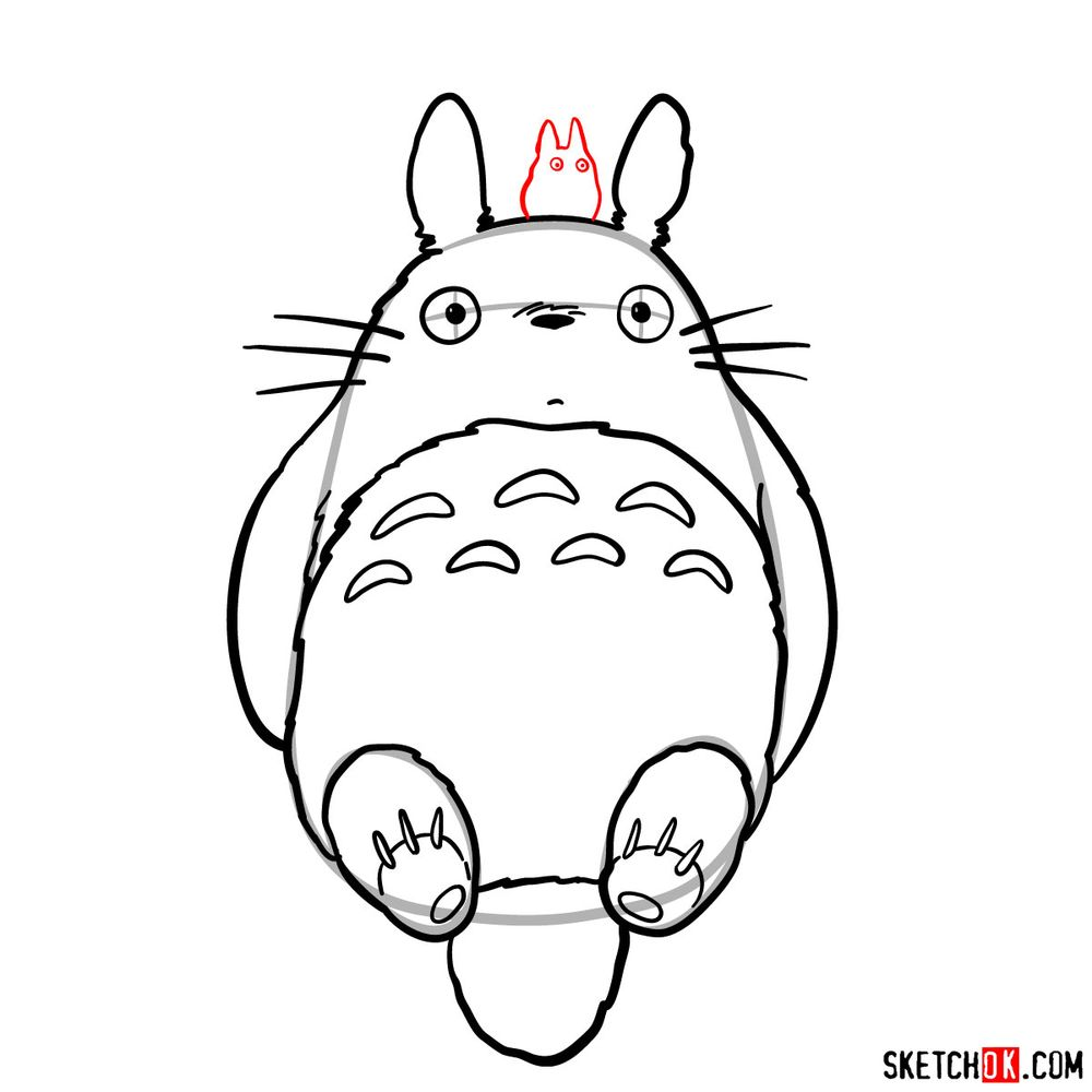 How to draw both chibi and big Totoro - step 11