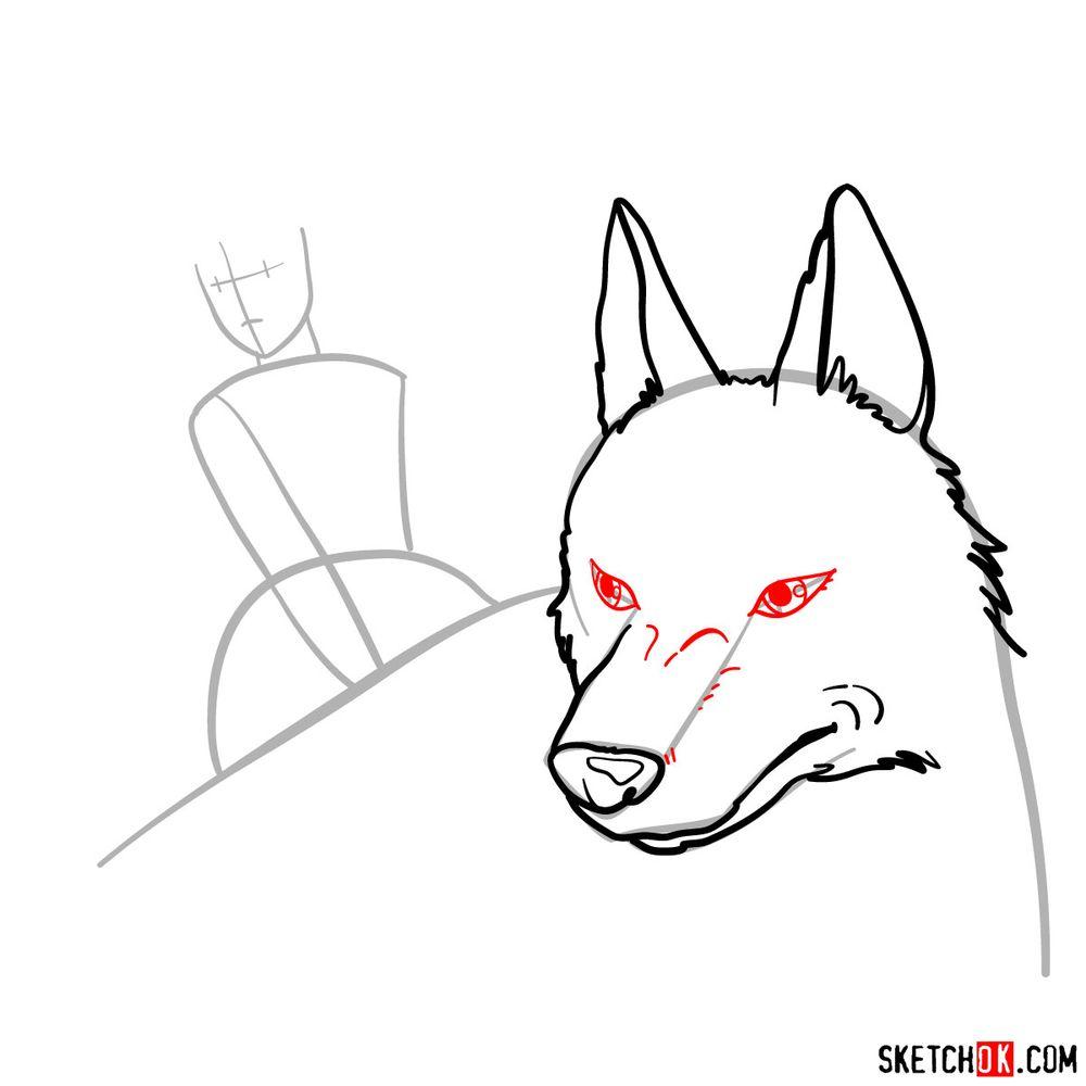 How to draw Princess Mononoke and Moro - step 06