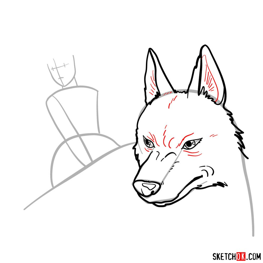 How to draw Princess Mononoke and Moro - step 07