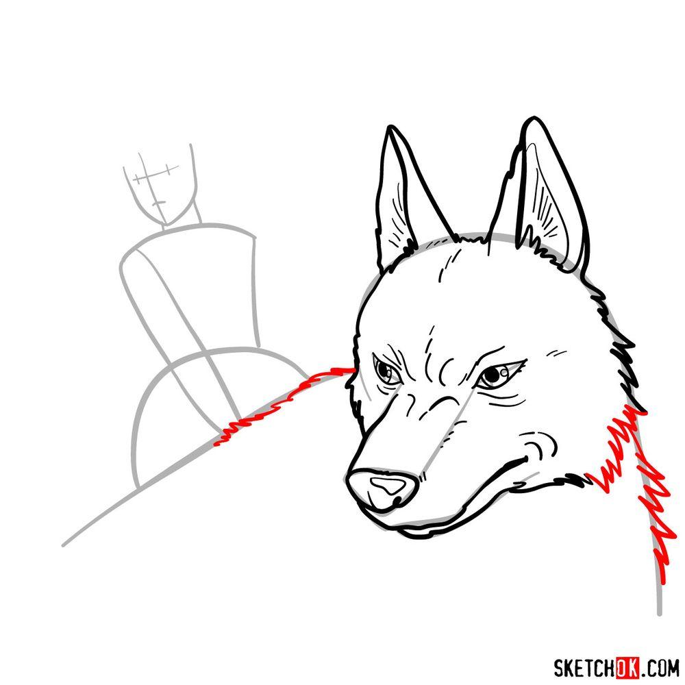 How to draw Princess Mononoke and Moro - step 08