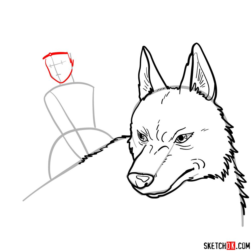How to draw Princess Mononoke and Moro - step 09