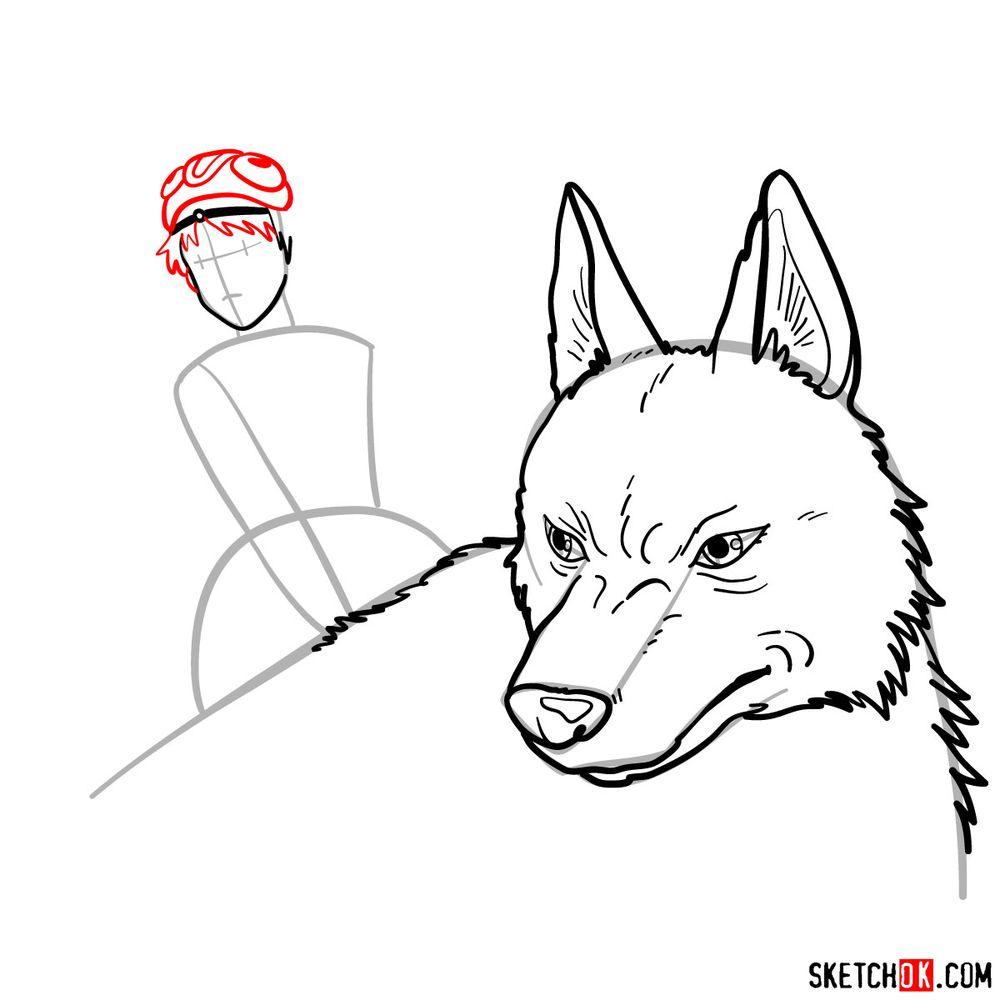 How to draw Princess Mononoke and Moro - step 10