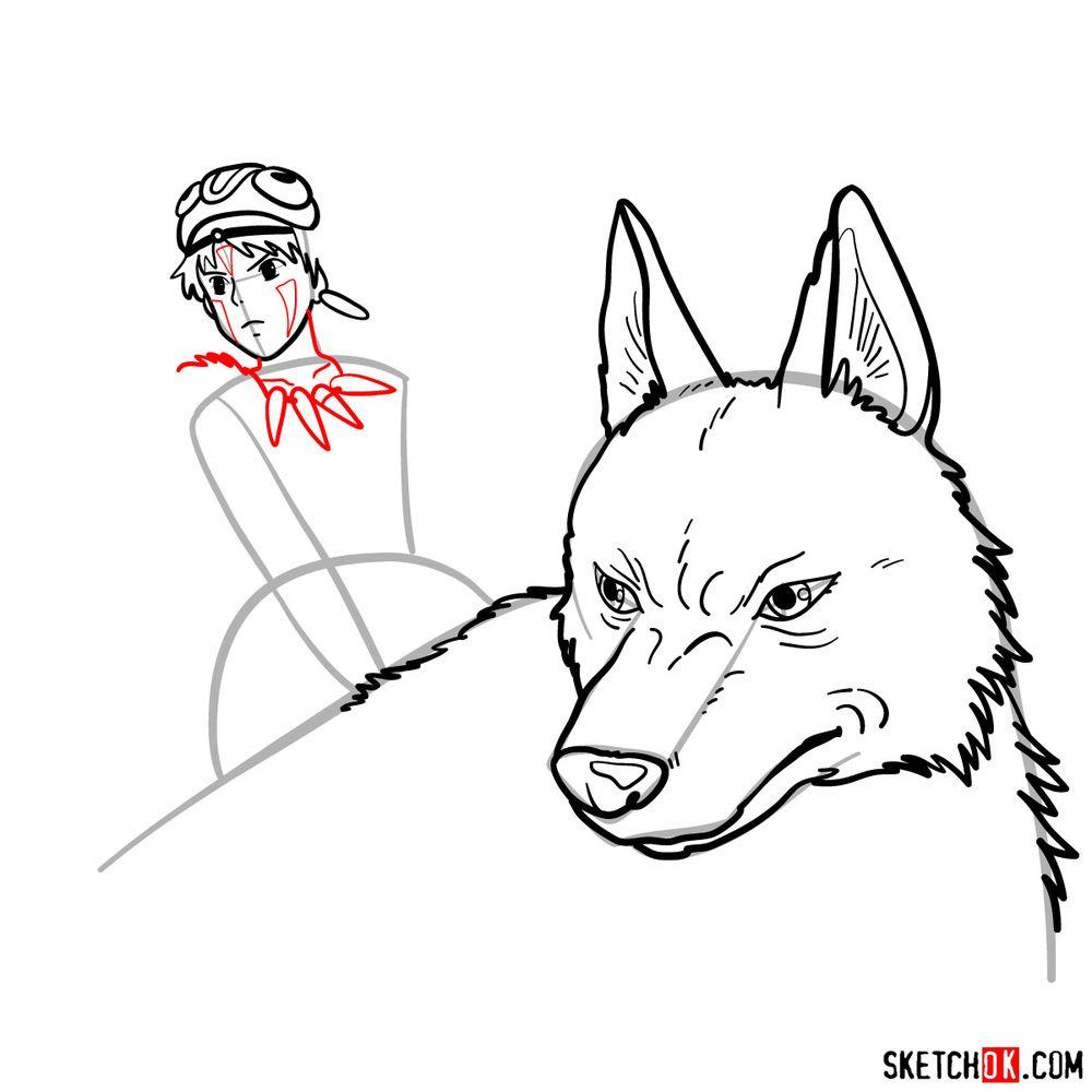 How to draw Princess Mononoke and Moro - step 12
