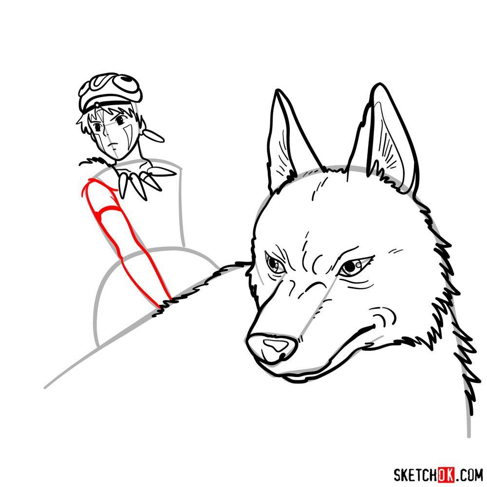 How to draw Princess Mononoke and Moro - step 13