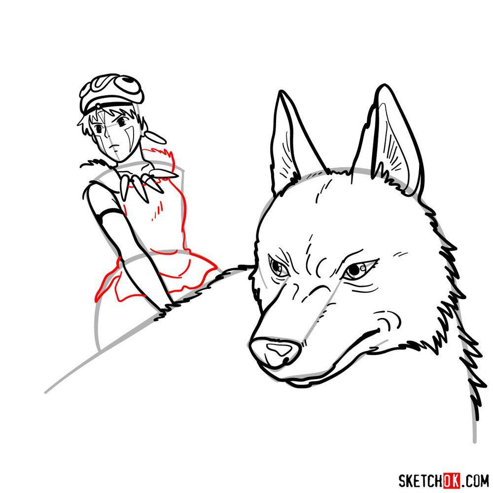 How to draw Princess Mononoke and Moro - step 14
