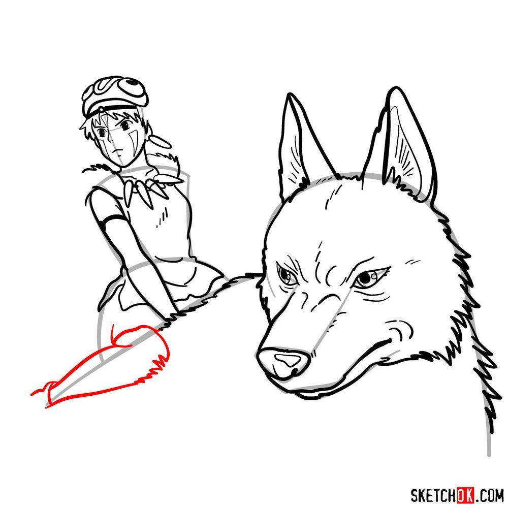 How to draw Princess Mononoke and Moro - step 15