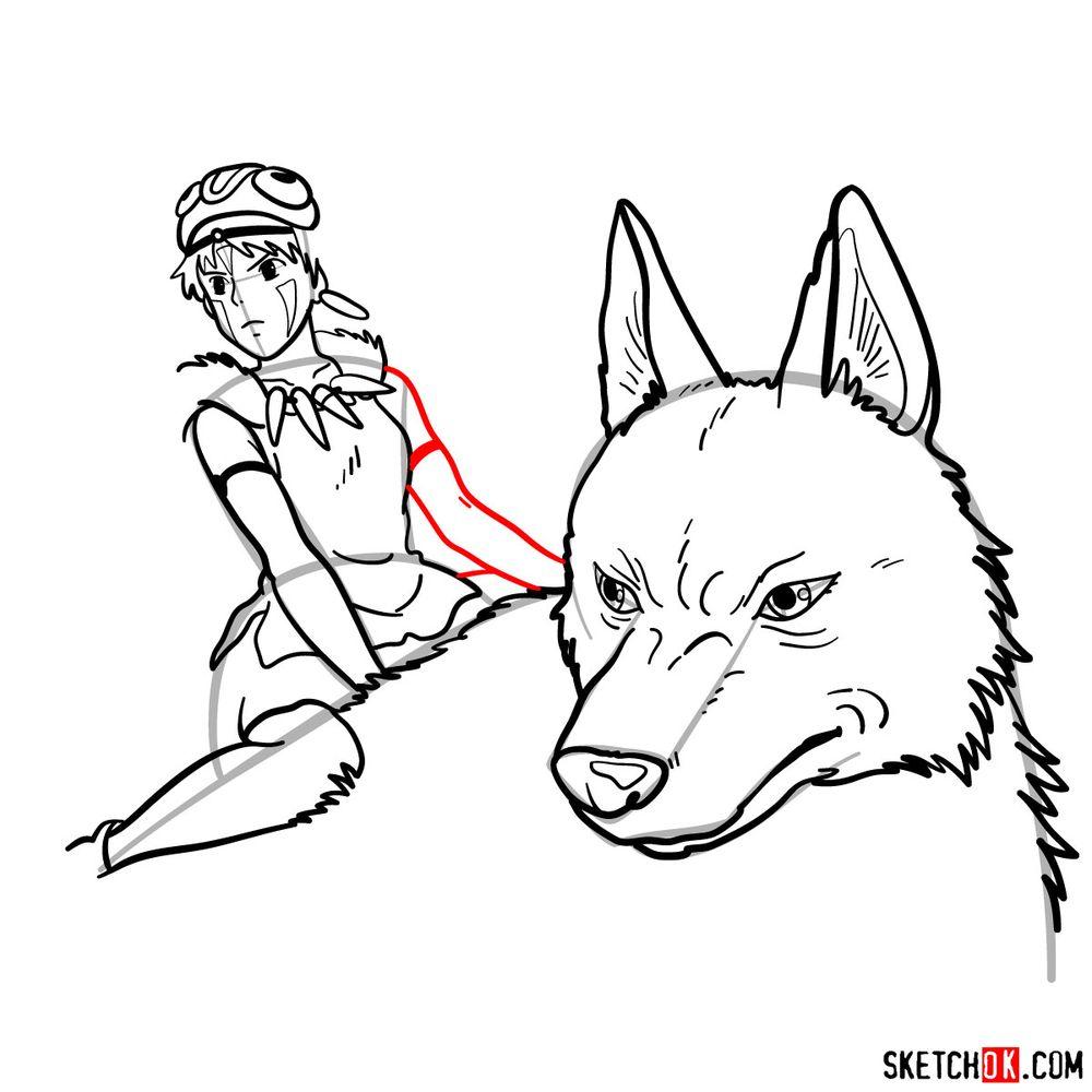 How to draw Princess Mononoke and Moro - step 16
