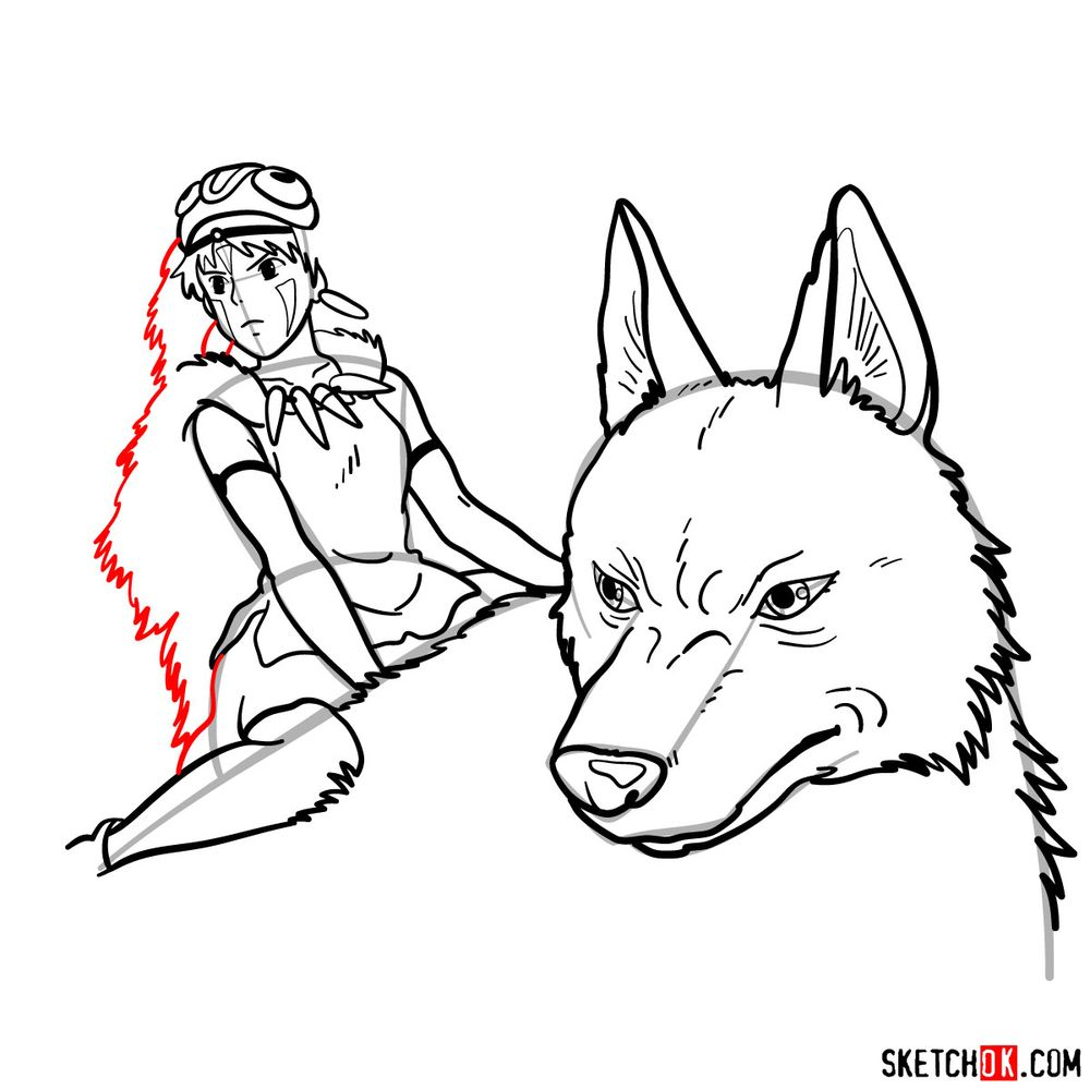 How to draw Princess Mononoke and Moro - step 17