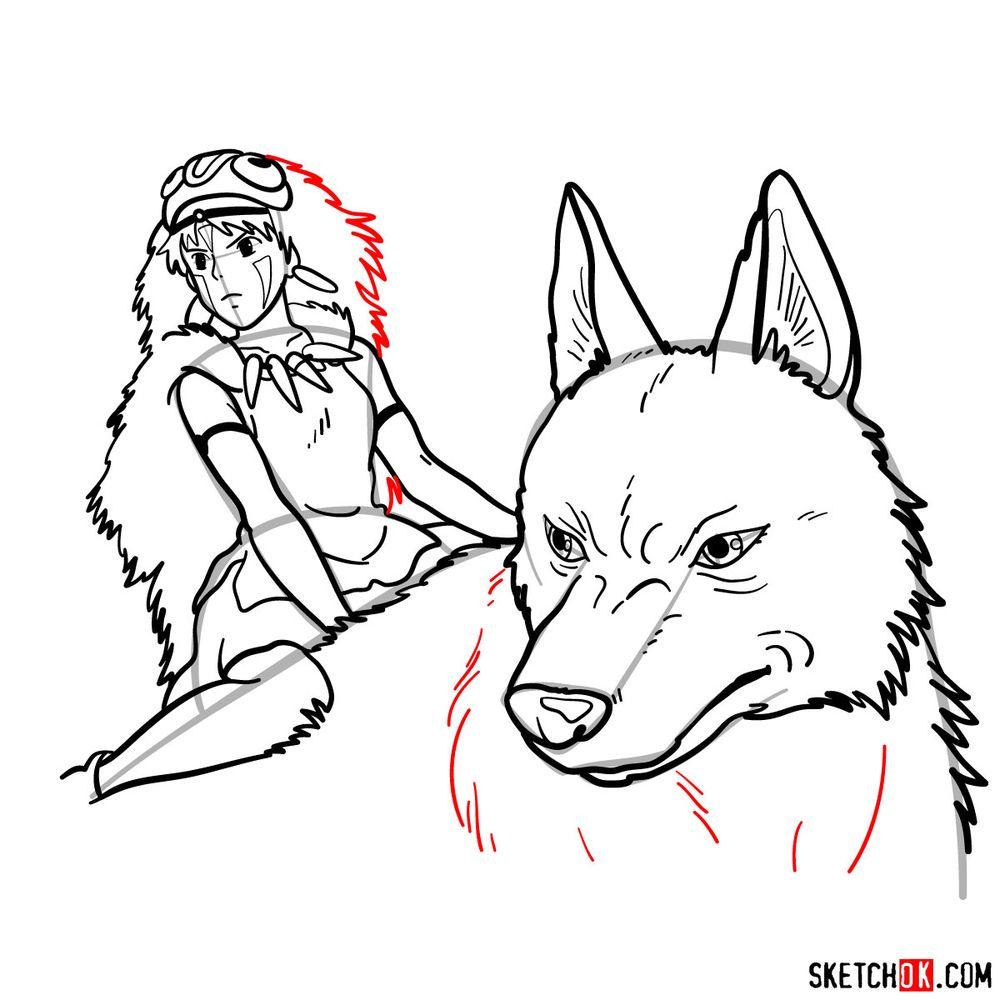 How to draw Princess Mononoke and Moro - step 18