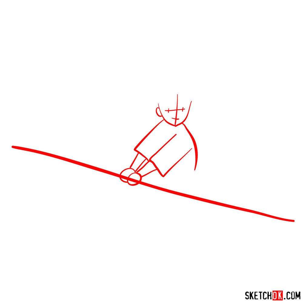 How to draw Kiki flying on her broom - step 01