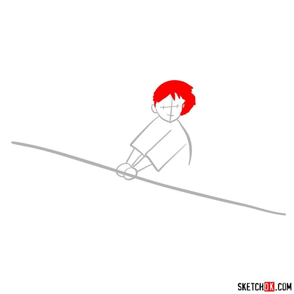 How to draw Kiki flying on her broom - step 02