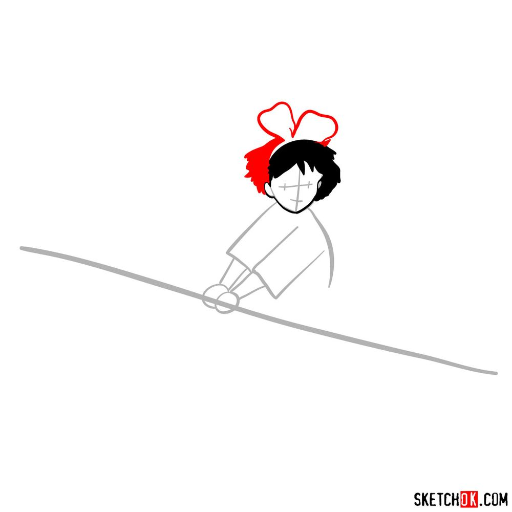How to draw Kiki flying on her broom - step 04