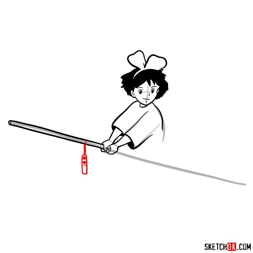 How to draw Kiki flying on her broom - step 09