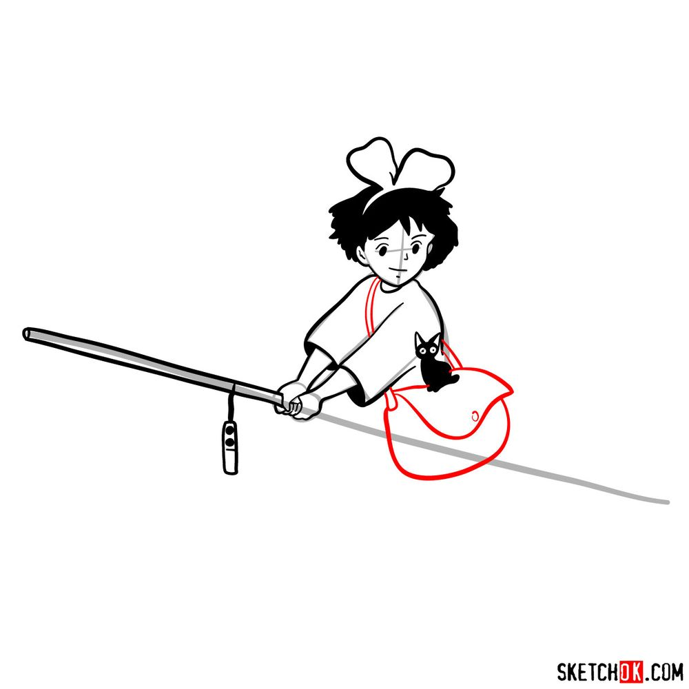 How to draw Kiki flying on her broom - step 11