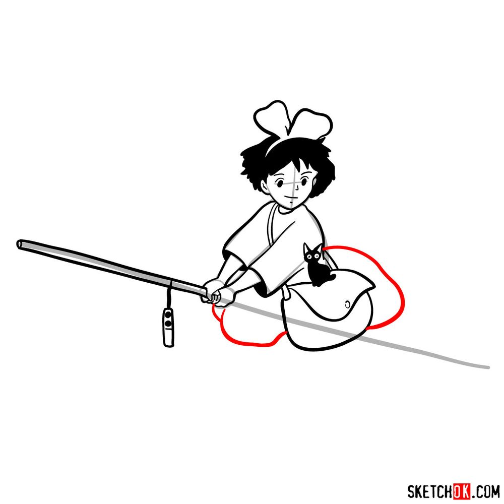 How to draw Kiki flying on her broom - step 12
