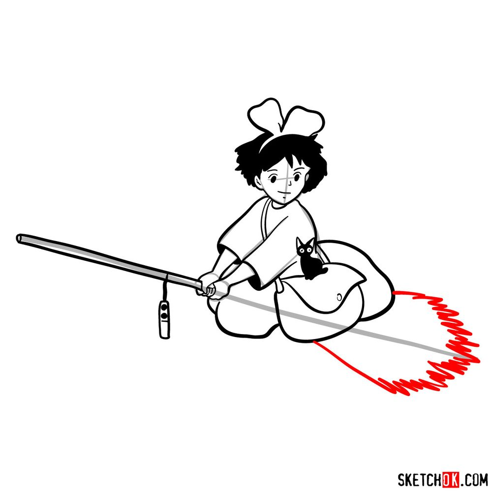 How to draw Kiki flying on her broom - step 13