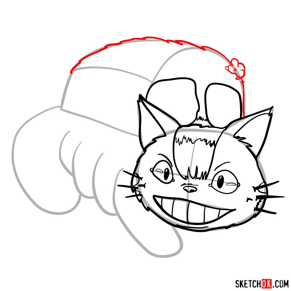 How to draw the Catbus - step 08