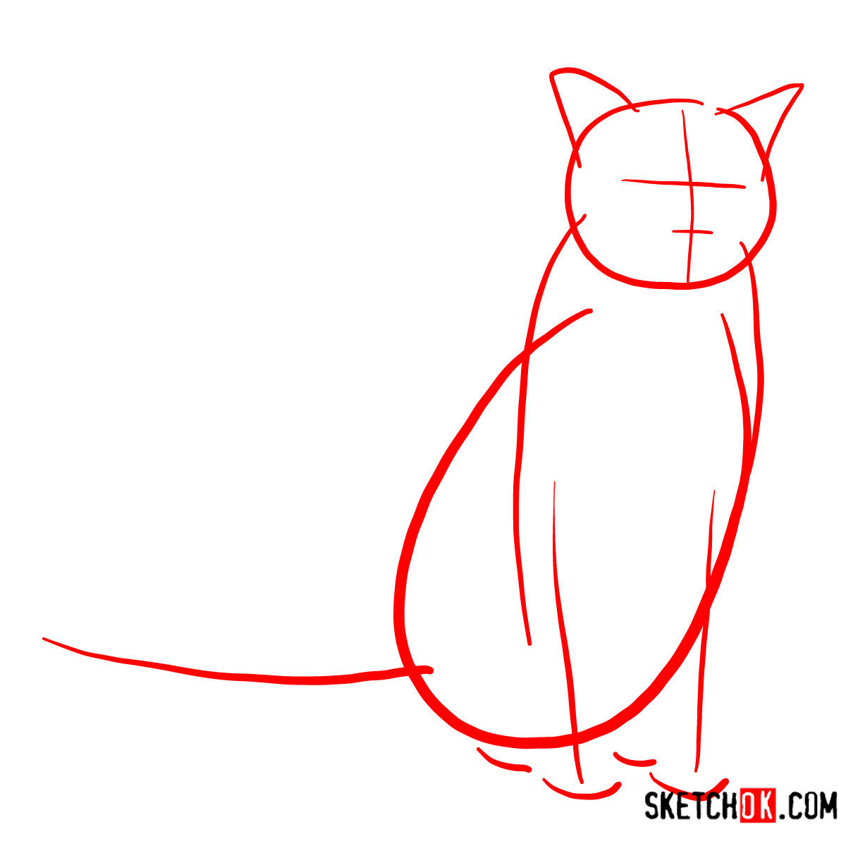 How to draw the Burmese cat - step 01