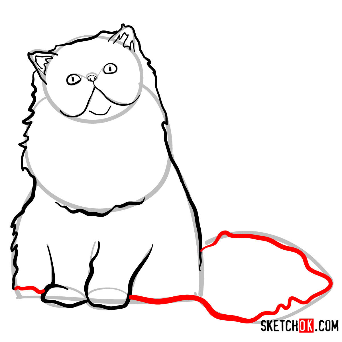 How to draw the Persian cat - step 07