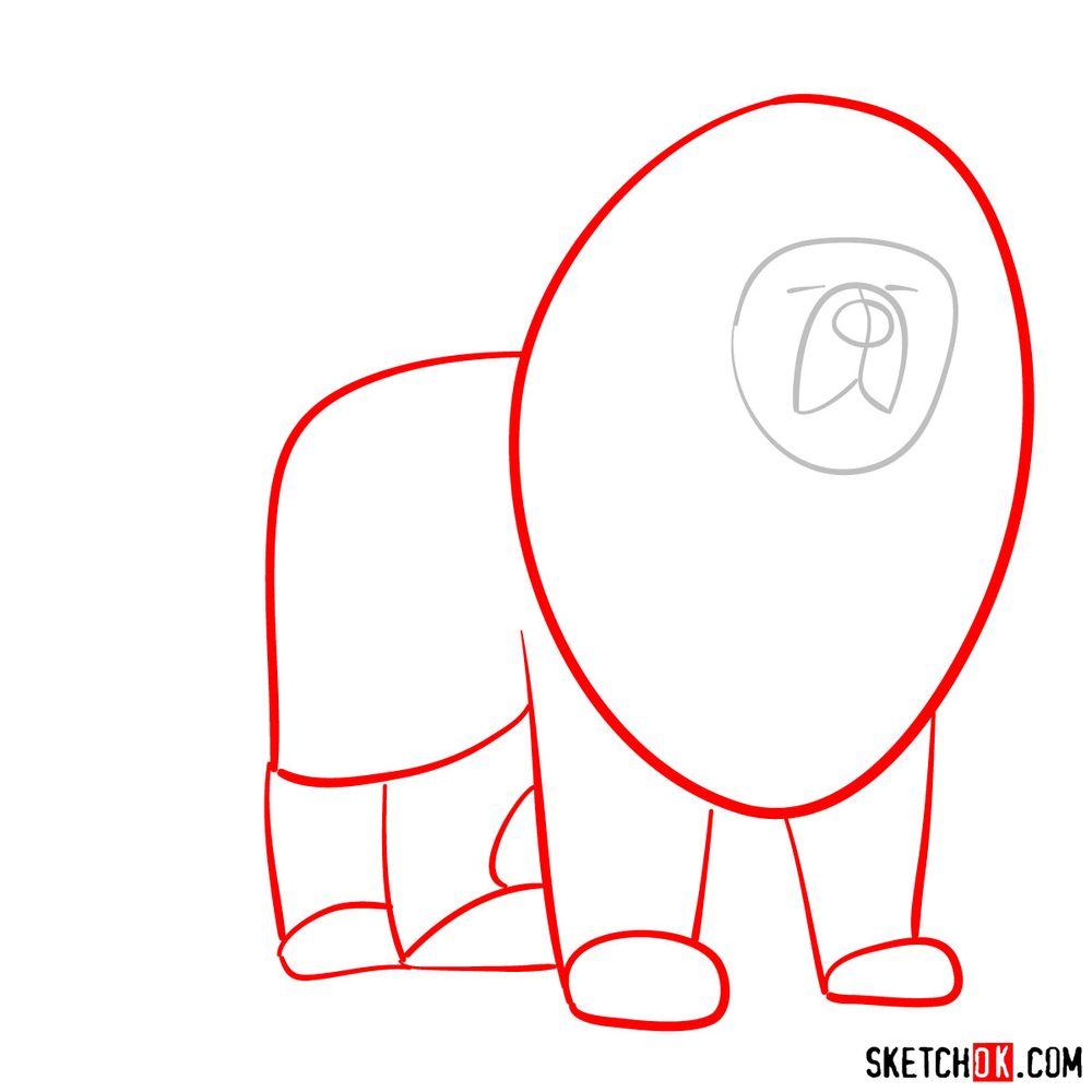 How to draw a Tibetan mastiff - step 02