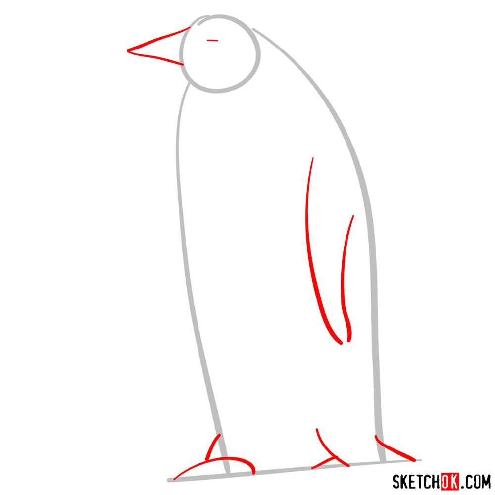 How to draw an emperor penguin - step 02
