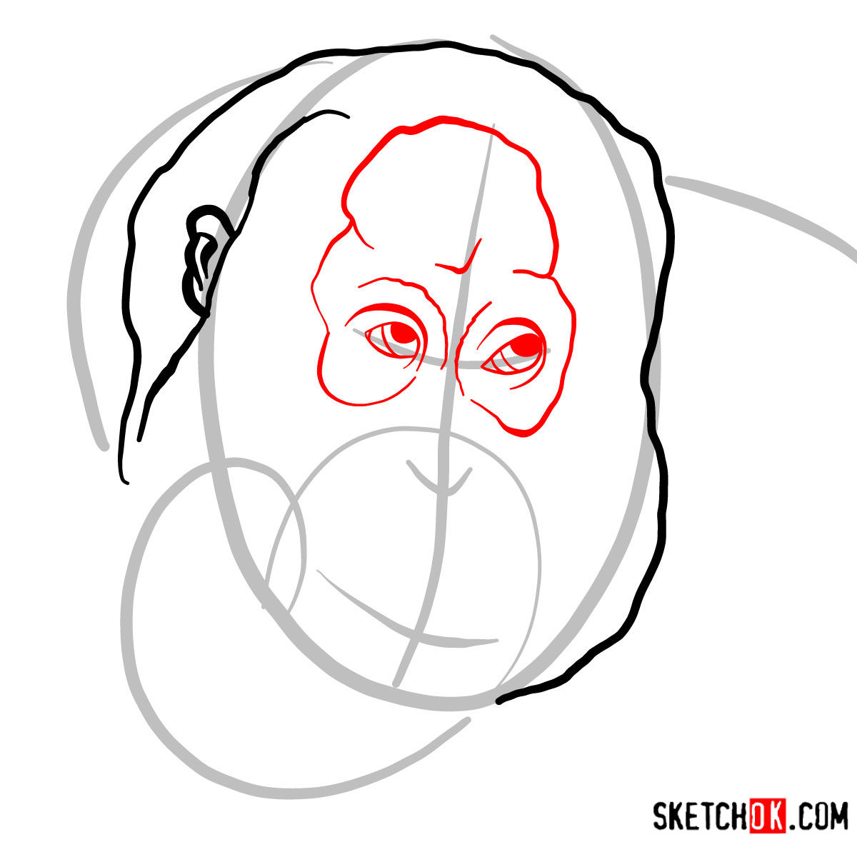 How to draw Orangutan's head | Wild Animals - step 03
