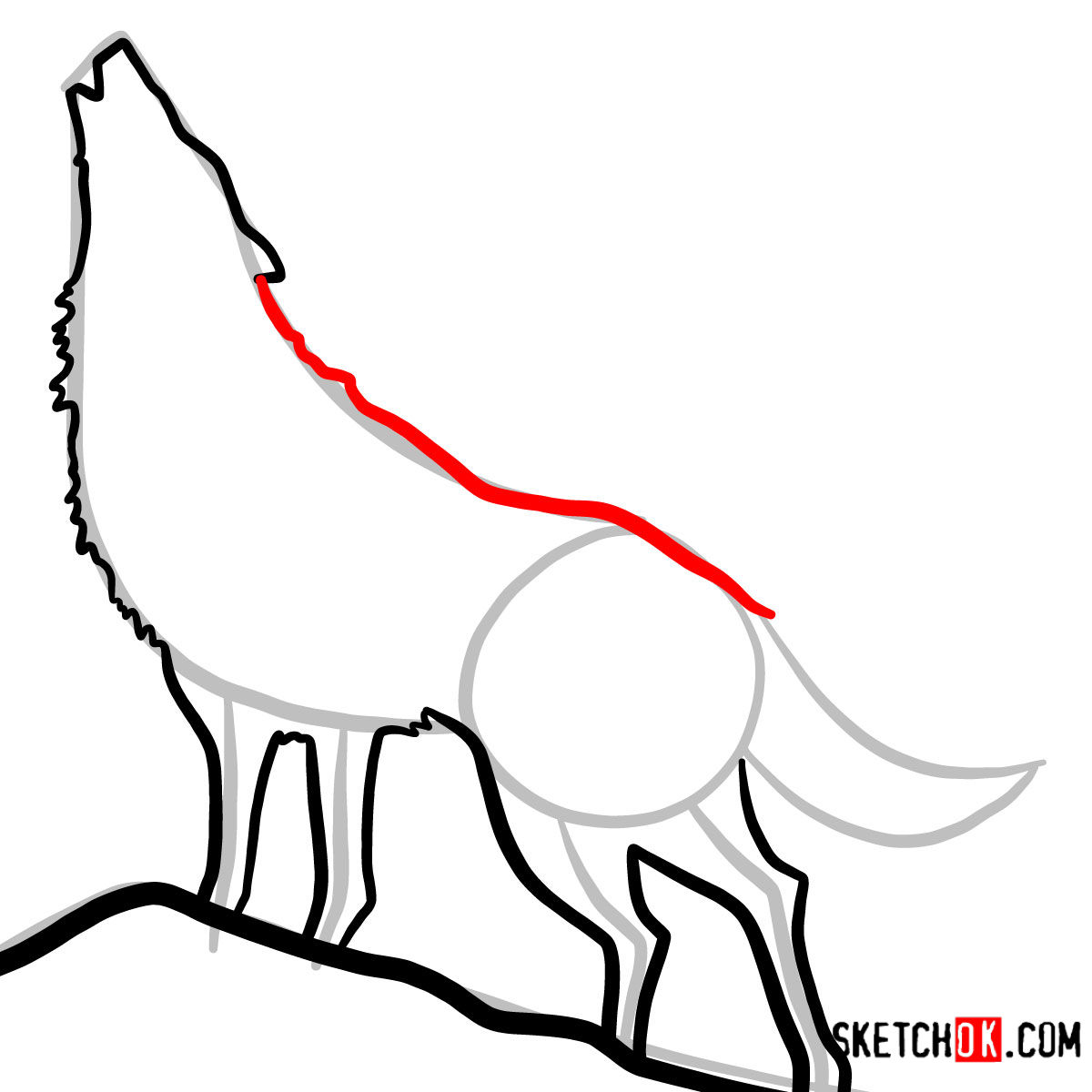 How to draw Howling Wolf Silhouette | Wild Animals - step 07