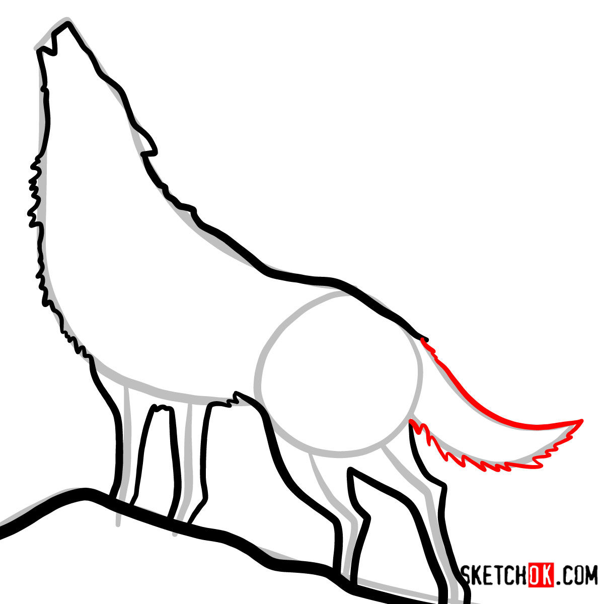How to draw Howling Wolf Silhouette | Wild Animals - step 08