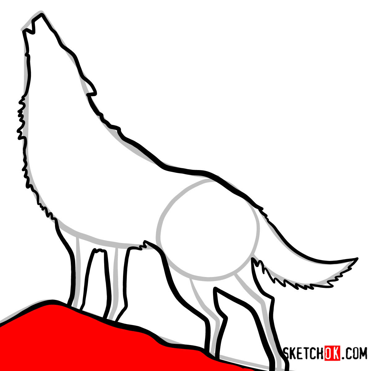 How to draw Howling Wolf Silhouette | Wild Animals - step 09