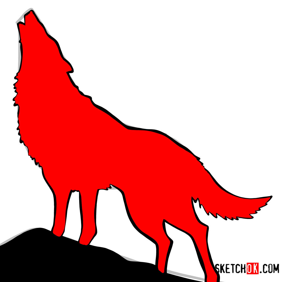 How to draw Howling Wolf Silhouette | Wild Animals - step 10