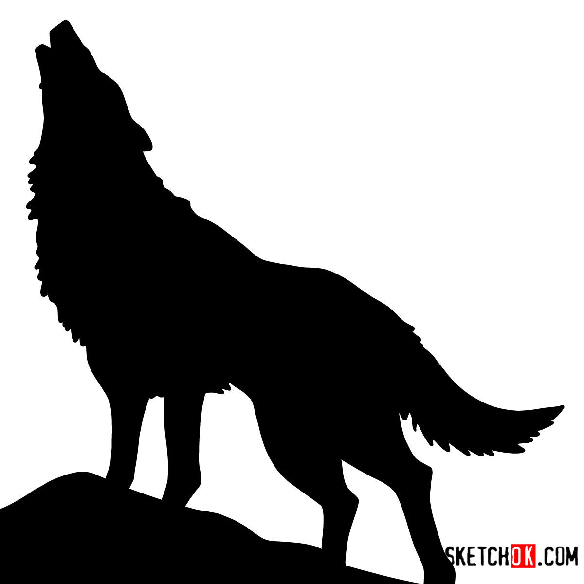 How to draw Howling Wolf Silhouette