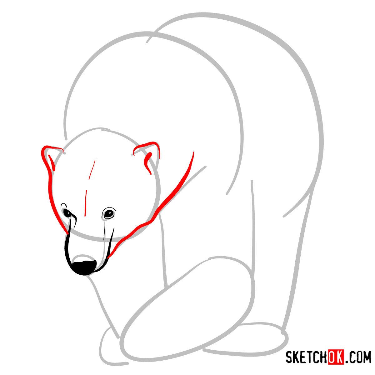 How to draw a polar bear | Wild Animals - step 04