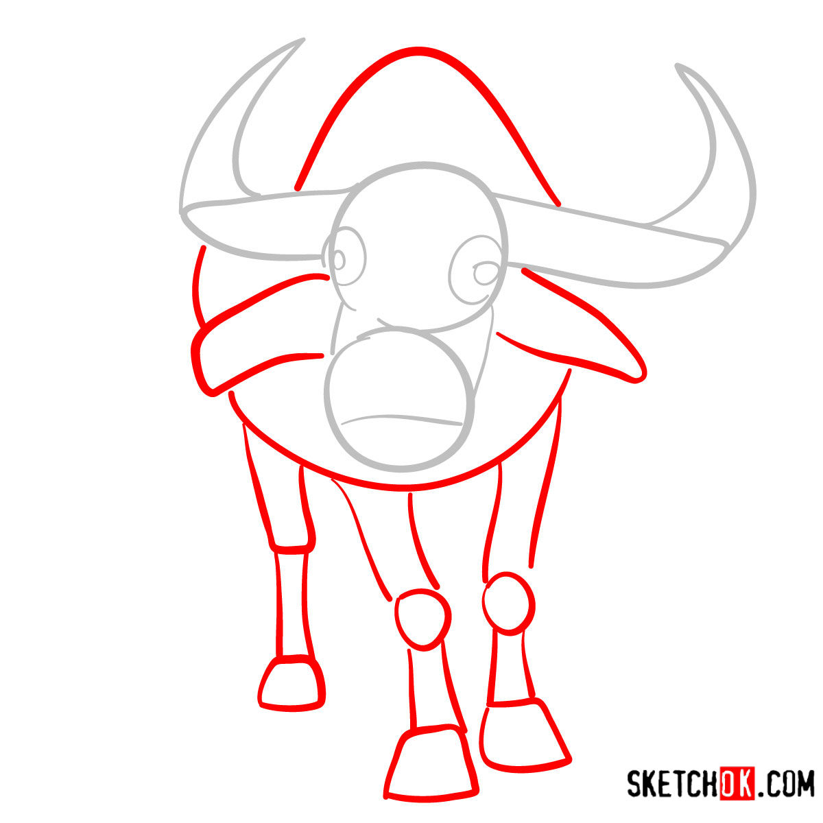 How to draw a buffalo | Wild Animals - step 02
