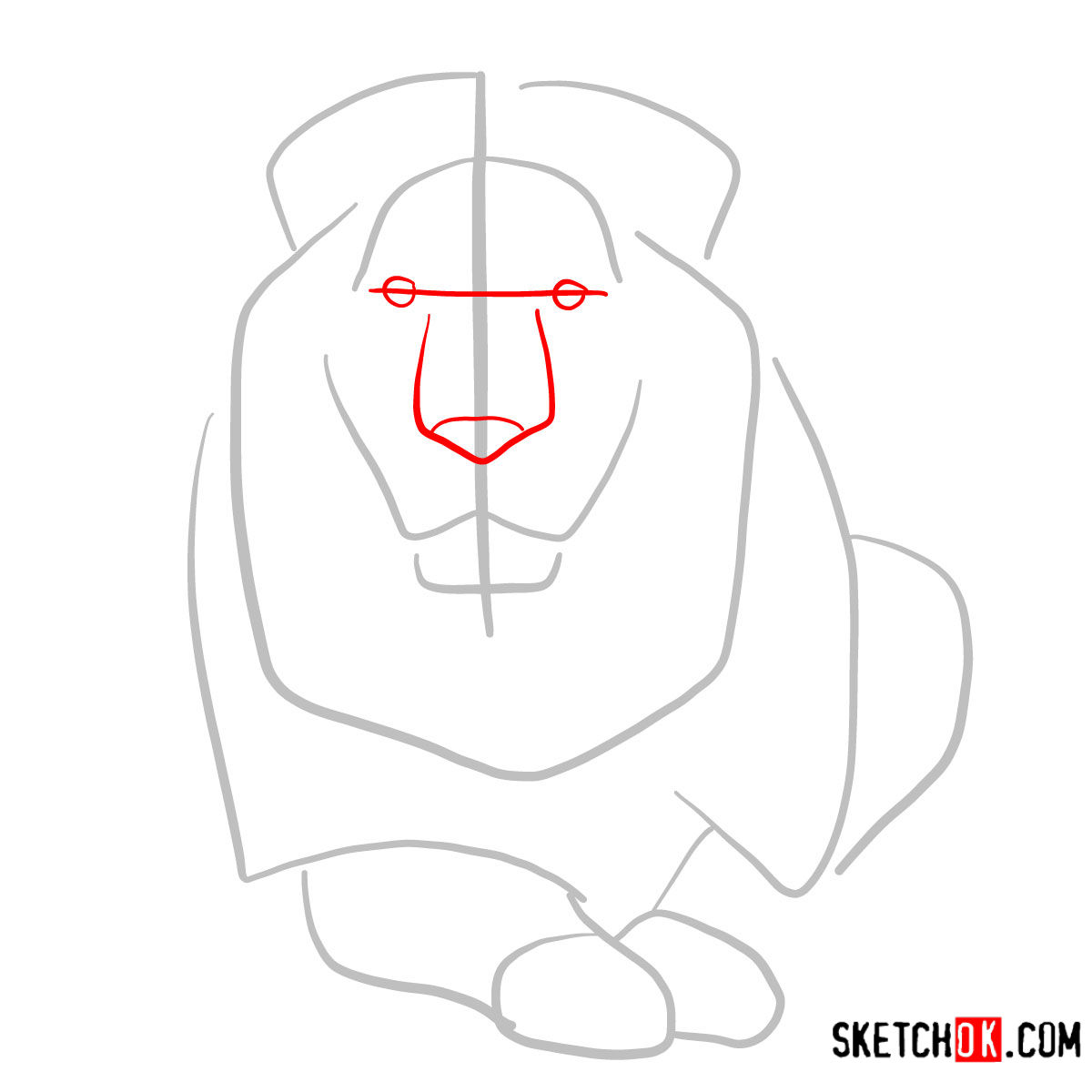 How to draw a Lion head | Wild Animals - step 02