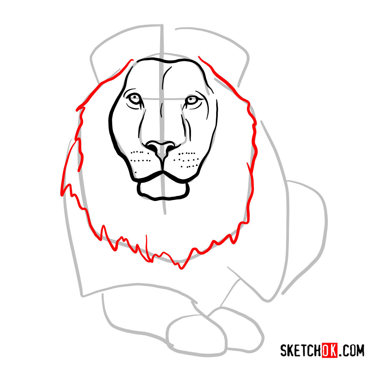 How to draw a Lion head | Wild Animals - step 06