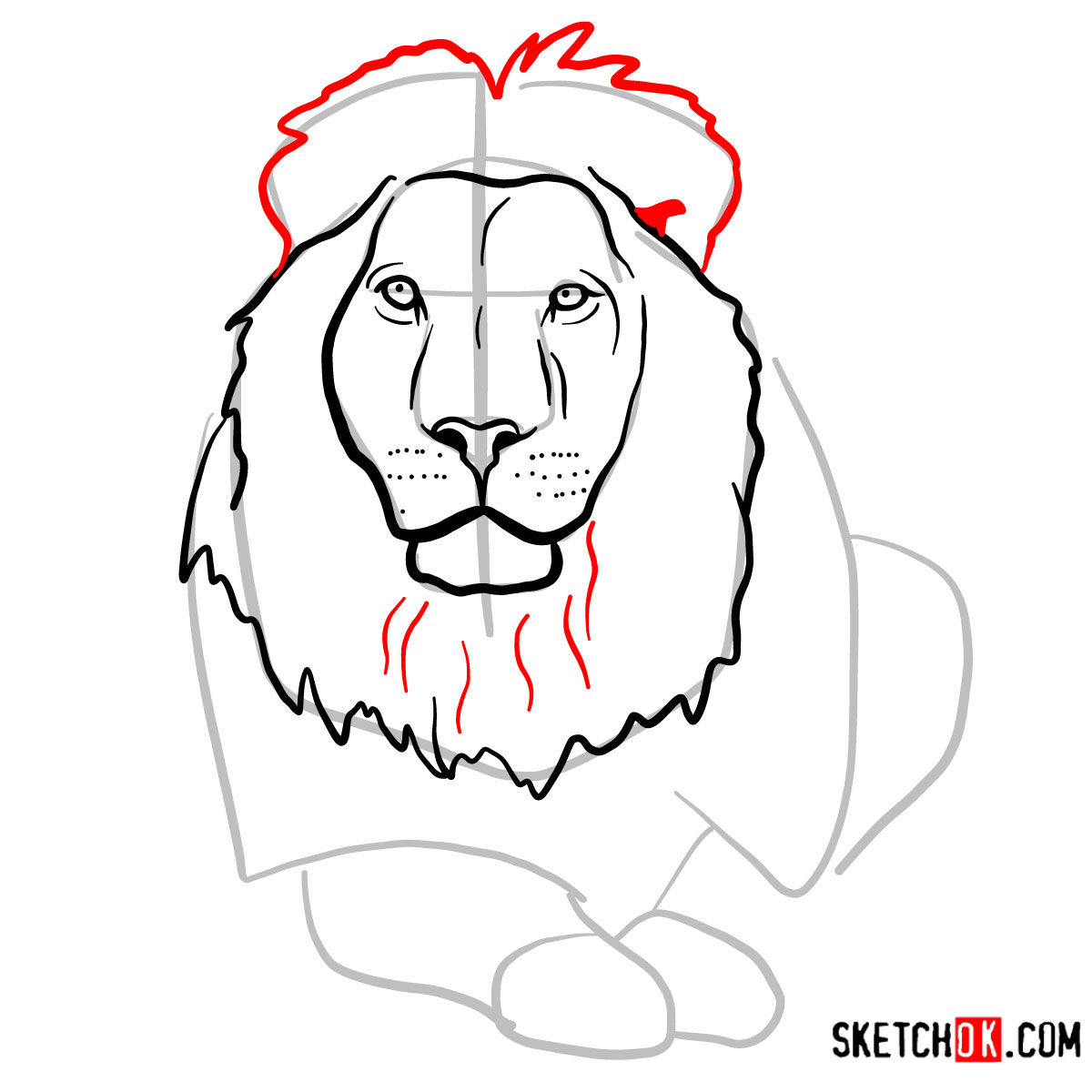 How to draw a Lion head | Wild Animals - step 07