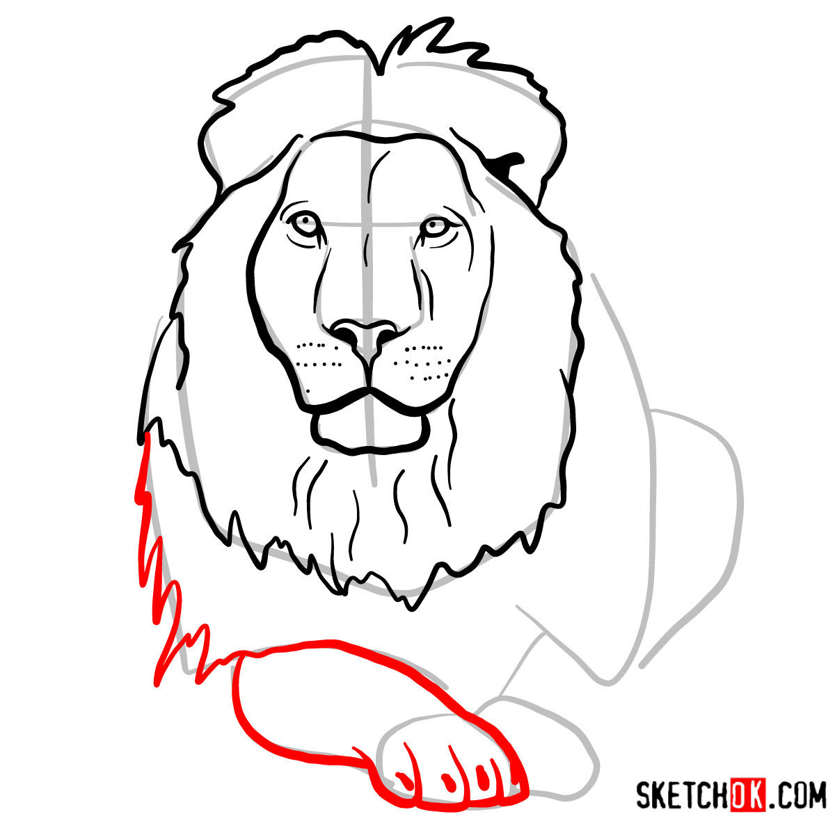 How to draw a Lion head | Wild Animals - step 08