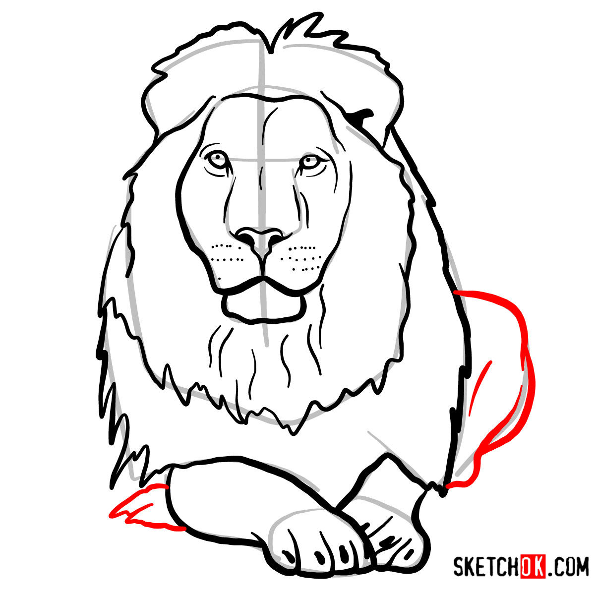 How to draw a Lion head | Wild Animals - step 10