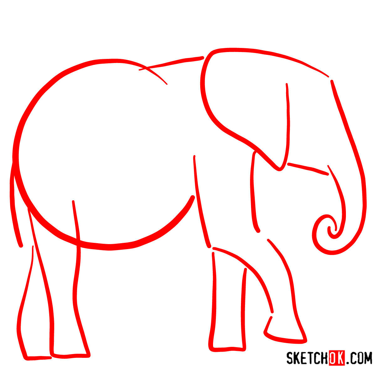 How to draw an Elephant side view | Wild Animals - step 01