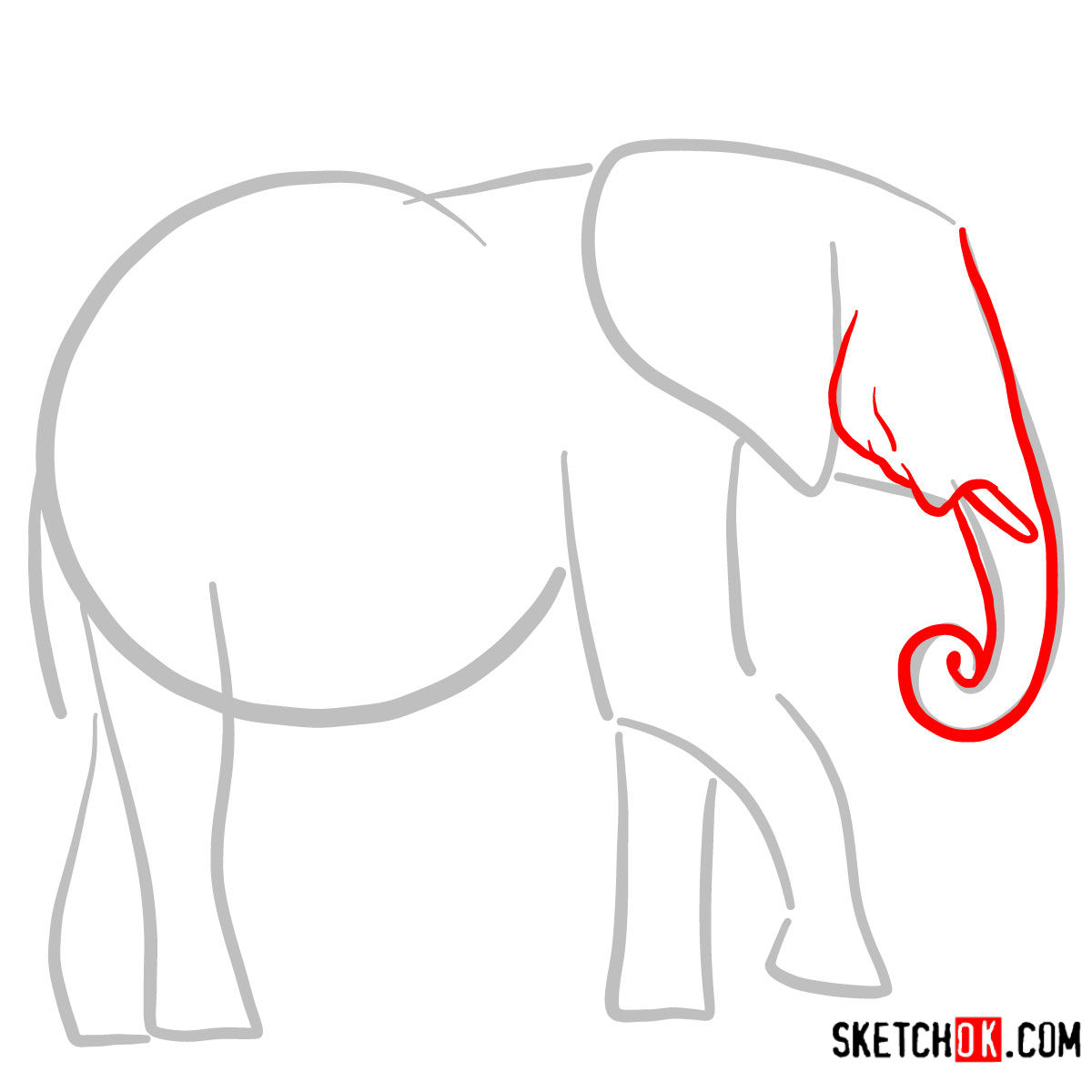 How to draw an Elephant side view | Wild Animals - step 02