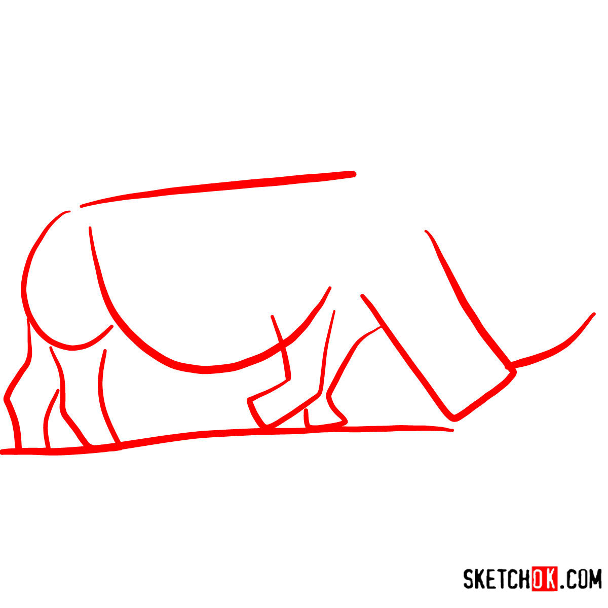 How to draw a Rhinoceros | Wild Animals - step 01